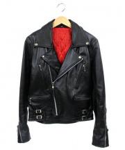 Freeclom(フリークロム)の古着「レザーダブルライダースジャケット」|ブラック