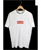 Supreme×COMME des GARCON SHIRTS(シュプリーム×コムデギャルソンシャツ)の古着「ドット迷彩柄ミラーBOXロゴTシャツ」|ホワイト×グレー