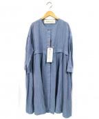 latelier du savon(アトリエドゥサボン)の古着「ノーカラーリネンコート」|ライトブルー