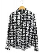 BLACK COMME des GARCONS(ブラックコムデギャルソン)の古着「リップ柄ロングスリーブシャツ」 ブラック×ホワイト