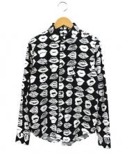 BLACK COMME des GARCONS(ブラックコムデギャルソン)の古着「リップ柄ロングスリーブシャツ」|ブラック×ホワイト