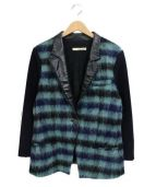 BALENCIAGA(バレンシアガ)の古着「モヘヤ切替レザージャケット」|ブラック×ネイビー