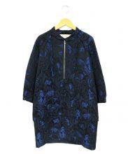 MARNI(マルニ)の古着「スタンドカラーデザインワンピース」|ブルー×ブラック