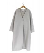 FRAY ID(フレイアイディー)の古着「ジロンラムノーカラーコート」|ライトグレー
