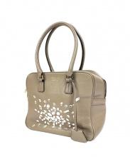 A.D.M.J.(エーディーエムジェー)の古着「スワロフスキー装飾ハンドバッグ」|ベージュ