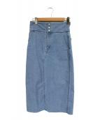 MACPHEE(マカフィー)の古着「レースアップアアイラインデニムスカート」|インディゴ
