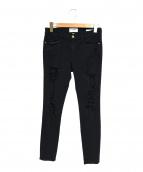 FRAME DENIM(フレームデニム)の古着「クラッシュスキニーデニム」|ブラック