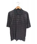 dunhill(ダンヒル)の古着「コットンボーダーポロシャツ」 パープル×グレー