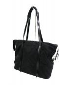 PRADA(プラダ)の古着「ナイロンレザーキルティングトートバッグ」|ブラック
