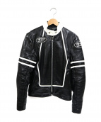 VANSON(バンソン)の古着「RJVレザージャケット」|ブラック×ホワイト