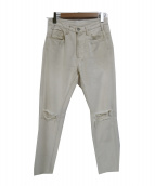 UNUSED(アンユーズド)の古着「ダメージ加工デニムパンツ」|アイボリー