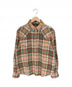 RRL(ダブルアールエル)の古着「ネイティブチェックウエスタンシャツ」|グリーン×オレンジ