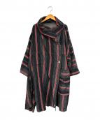 mercibeaucoup(メルシーボークー)の古着「ストライプもったいないオコート」|レッド×ブラック