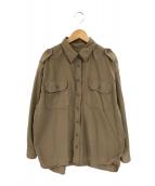 DEUXIEME CLASSE(ドゥーズィエムクラス)の古着「セイヒンゾメミリタリーシャツ」 ブラウン
