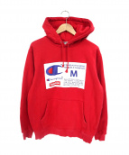 Supreme×CHAMPION(シュプリーム×チャンピオン)の古着「Label Hooded Sweatshirt」|レッド