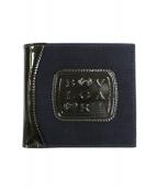 BVLGARI(ブルガリ)の古着「パテントキャンバス切替2つ折り財布」|ブラック×ネイビー