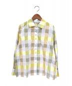 Christian Dior Sports(リスチャンディオールスポーツ)の古着「チェックフェイクボタンシャツ」|イエロー
