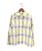 Christian Dior Sports(クリスチャン ディ オール スポーツ)の古着「チェックフェイクボタンシャツ」|イエロー
