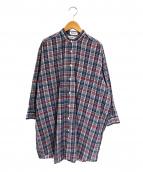 INDIVIDUALIZED SHIRTS(インディビジュアライズドシャツ)の古着「別注チェックバンドカラーシャツワンピース」|レッド×ネイビー