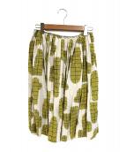 mina perhonen(ミナペルフォネン)の古着「リネンスカート」|ベージュ×イエロー