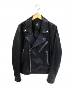 Paul Smith(ポールスミス)の古着「ゴートレザー配色ダブルライダースジャケット」|ブラック×ネイビー
