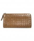 BOTTEGA VENETA(ボッテガヴェネタ)の古着「イントレチャートL字ファスナー財布」|ブラウン