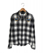 CHALLENGER(チャレンジャ)の古着「チェックシャツ」 ホワイト×ブラック