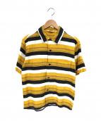 TENDERLOIN(テンダーロイン)の古着「ボーダーオープンカラーシャツ」 ブラック×イエロー