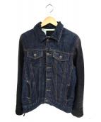 JACKROSE(ジャックローズ)の古着「リップ&タン レザー切替デニムジャケット」|ブルー×ブラック