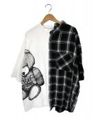 rovtski(ロフトスキ)の古着「ドッキングスウェットシャツ」|ホワイト×ブラック