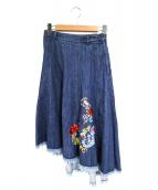 DIESEL(ディーゼル)の古着「コラボ刺繍フレアデニムスカート」|ブルー
