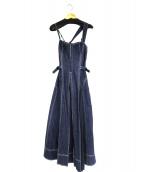 CASA FLINE(カーサフライン)の古着「フロントホックデニムロングワンピース」|インディゴ