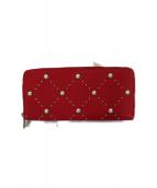 Kate Spade(ケイトスペード)の古着「パールスタッズラウンドファスナー長財布」|レッド