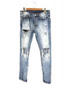 mnml(ミニマル)の古着「裾ジップダメージ加工デニムパンツ」|インディゴ