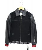 DIESEL(ディーゼル)の古着「カウレザー切替コットンジャケット」|ブラック