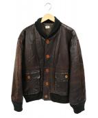 C.P COMPANY(シーピーカンパニ)の古着「レザーブルゾン」|ブラウン