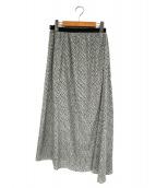 IENA(イエナ)の古着「シフォンプリントランダムフレアスカート」|ベージュ×ブラック