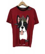 DOLCE & GABBANA(ドルチェアンドガッバーナ)の古着「ドッグプリントTシャツ」|エンジ