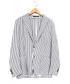 TAGLIATORE(タリアトーレ)の古着「G-SAHARAリネン・コットン2Bテーラードジャケット」|ブルー×ホワイト
