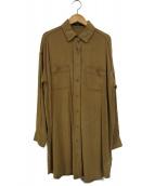 FRAMeWORK(フレームワーク)の古着「レーヨンツイルロングシャツ」|ベージュ