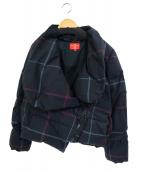 V.W. RED LABEL(ヴィヴィアンウエストウッドレッドレーベル)の古着「オーブボタンデザインチェック柄変形ダウンジャケット」|ブラック