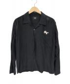RUDE GALLERY(ルードギャラリ)の古着「レーヨン長袖オープンカラーシャツ」|ブラック