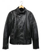 Karl Lagerfeld(カール ラガーフェルド)の古着「カウレザーダブルライダースジャケット」|ブラック