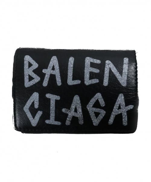 BALENCIAGA(バレンシアガ)BALENCIAGA (バレンシアガ) 三つ折りグラフィックミニ財布 ブラック サイズ:下記参照 529553の古着・服飾アイテム