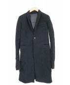 RICK OWENS(リックオウエンス)の古着「シルク混ナローラペルウールチェスターコート(ロングジャ」|ブラック