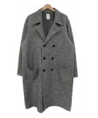THE NERDYS(ザナーディーズ)の古着「ハウンドトゥースダブルロングコート」|ブラック×ホワイト