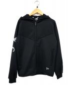 Ys×NEW ERA(ワイズxニューエラ)の古着「コラボフーデッドウォームアップトラックジャケット」|ブラック