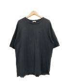 Saint Laurent Paris(サンローランパリ)の古着「YSLロゴ刺繍ダメージ加工Tシャツ」 グレー