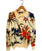 LEONARD(レオナール)の古着「シルク混フラワーデザイン襟付ニット」|ベージュ