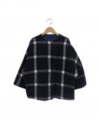 MARELLA(マレーラ)の古着「一枚仕立てリバーシブルチェックショートコート」|ブルー